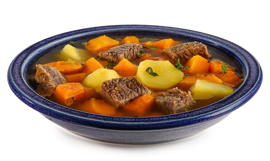 Pumpkin soup with soups meat