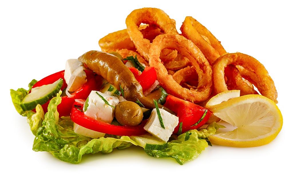 Calamari with shepherd salad