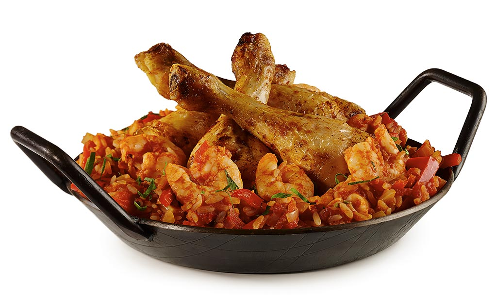 Chicken legs jambalaya with prawns