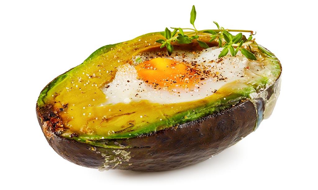 Avocado with eggs