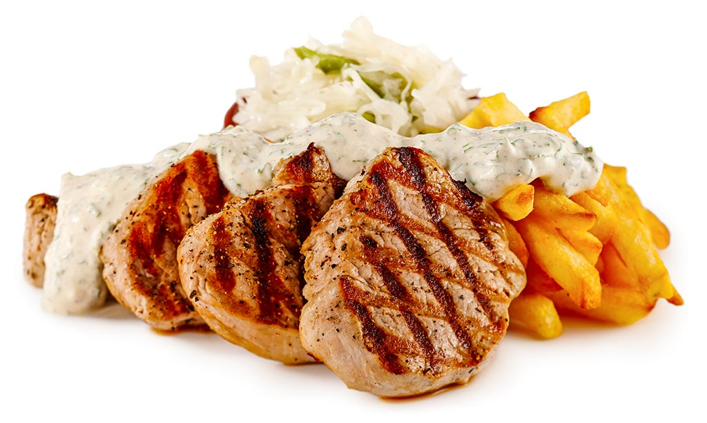 Filet with herb sauce and cabbage salad