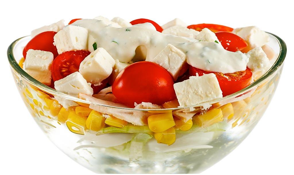 Rezept drucken schicht salat mit k se - Eier hart kochen dauer ...