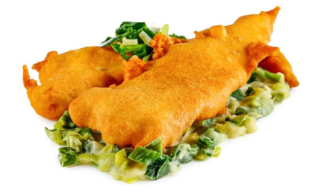 Back fish with leek vegetables