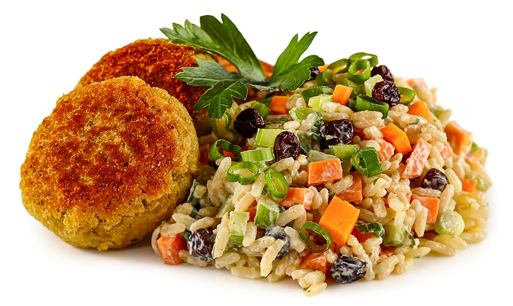 Falafel with rice salad