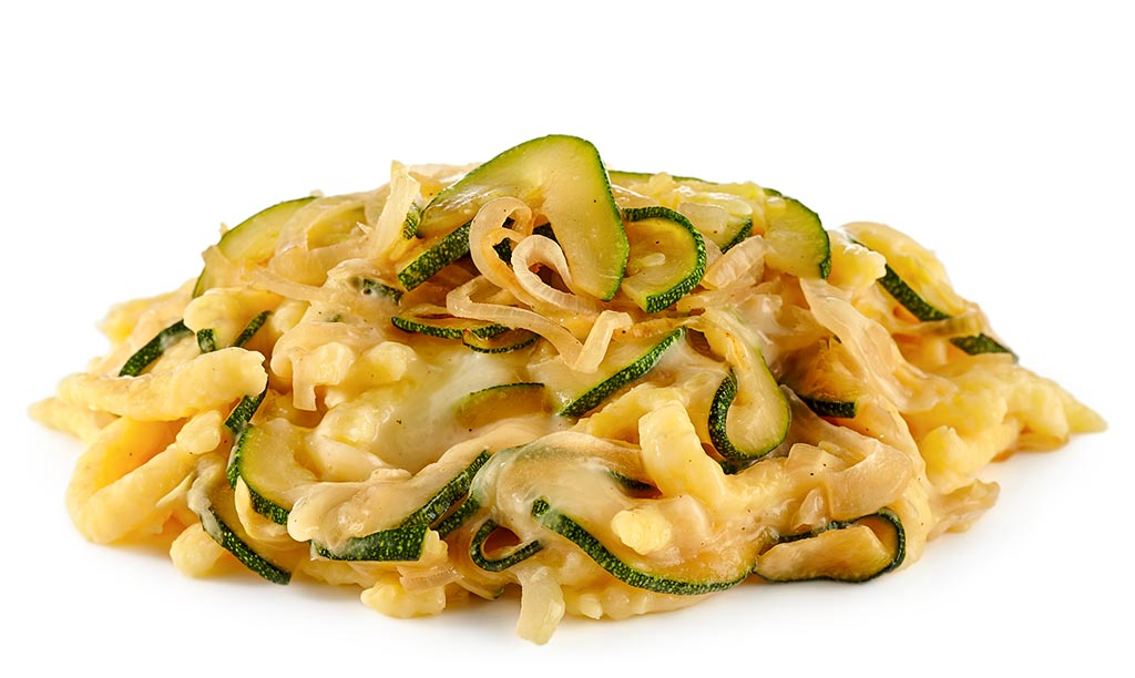 Cheese spaetzle with zucchini