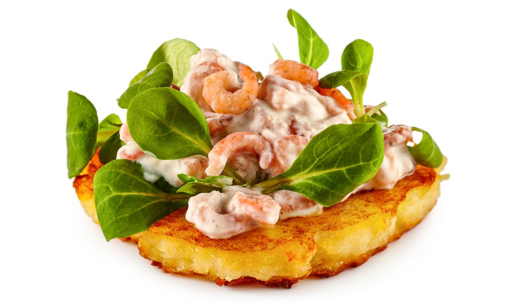 rezept drucken kartoffel puffer mit krabben salat. Black Bedroom Furniture Sets. Home Design Ideas