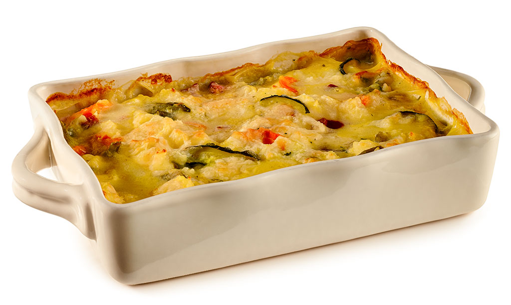 Vegetable casserole with mashed potatoes