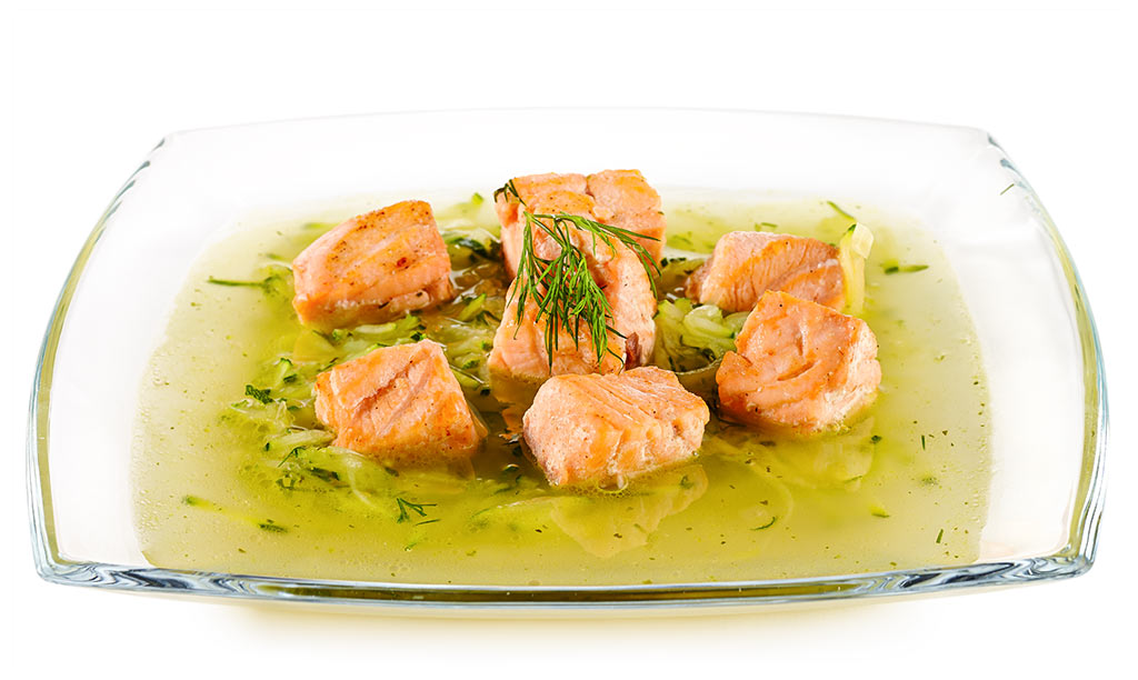 Zucchini soup with salmon
