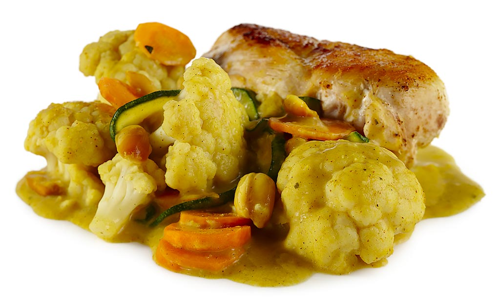 Chicken breast fillet with flowers cabbage