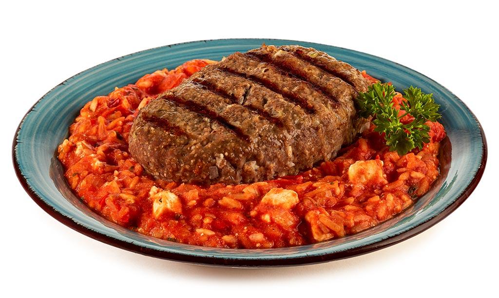 Bifteki with tomatoes Feta rice