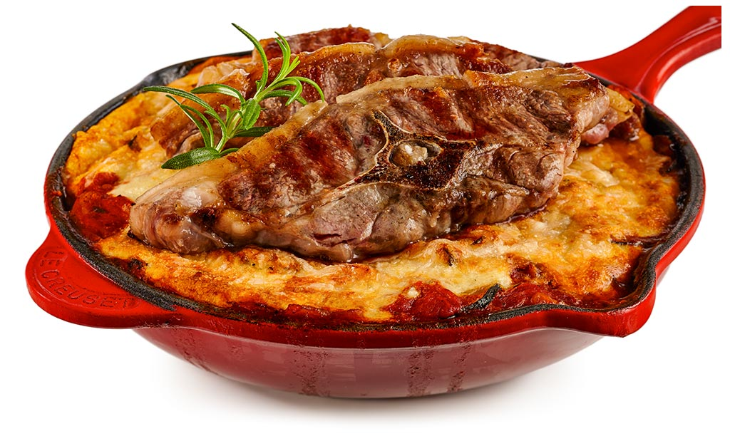 Moussaka with lamb cutlet