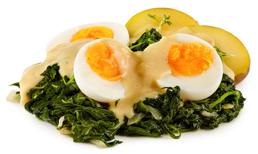 Rezept drucken senf eier mit spinat - Eier hart kochen dauer ...