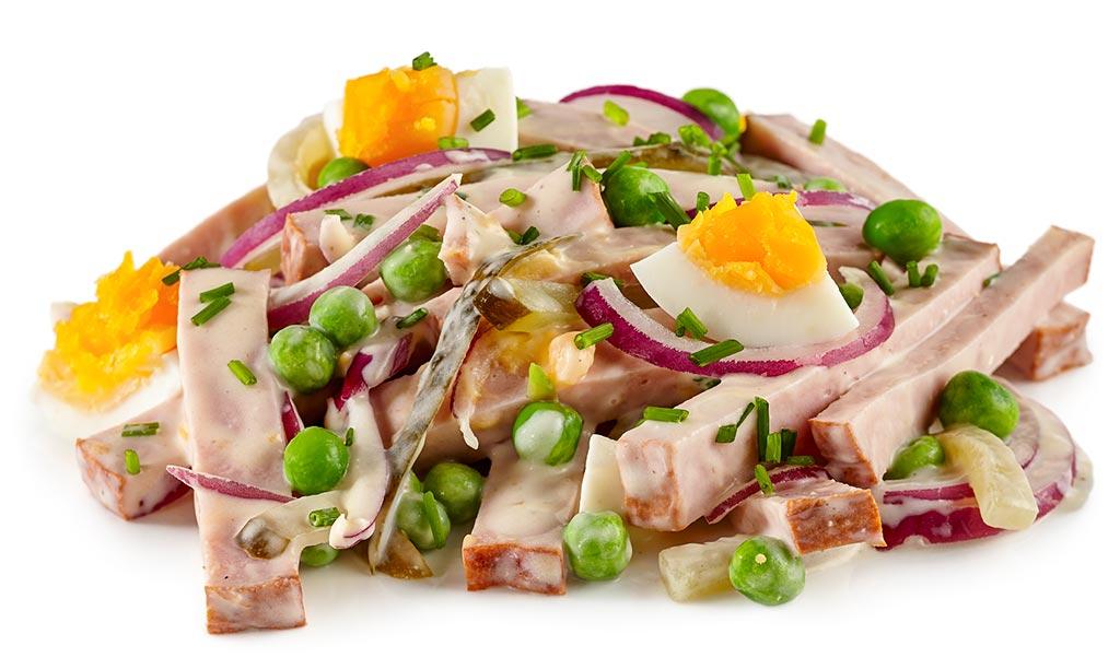 rezept drucken fleisch salat mit ei und erbsen. Black Bedroom Furniture Sets. Home Design Ideas