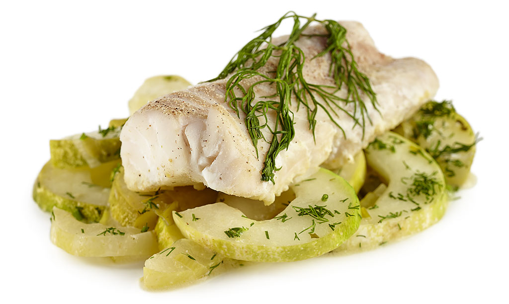 Cod with braised cucumbers