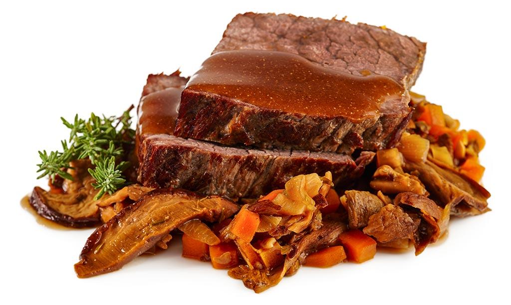 Beef roast with stone mushroom cream sauce
