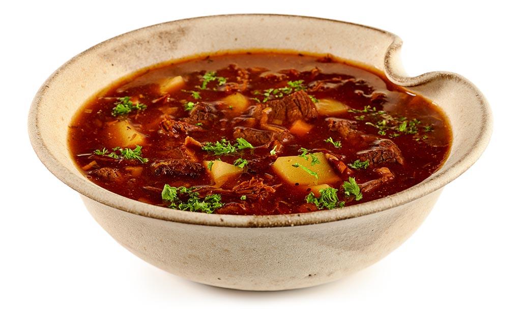 Goulash soup with chanterelles