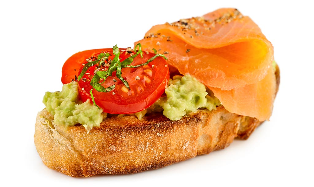 Bruschetta with guacamole and salmon