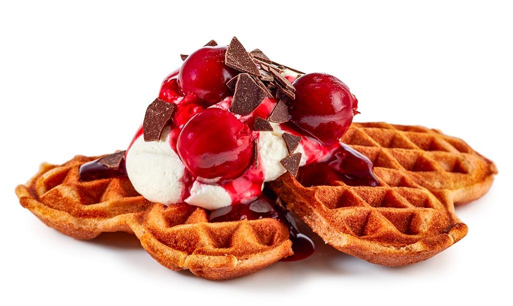 Black Forest kirsch waffles