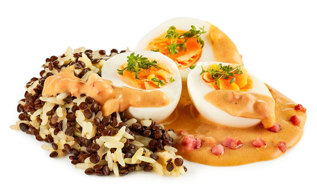 Rezept drucken eier in senf so e mit linsen reis - Eier kochen dauer ...