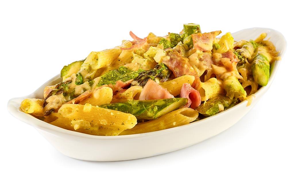 Asparagus noodle casserole with ham