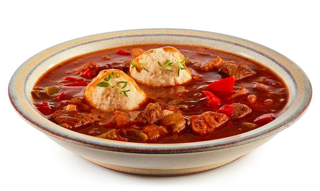 Goulash soup with bread dumplings