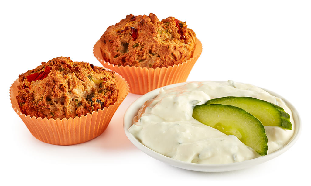 rezept drucken herzhafte muffins mit tzatziki. Black Bedroom Furniture Sets. Home Design Ideas