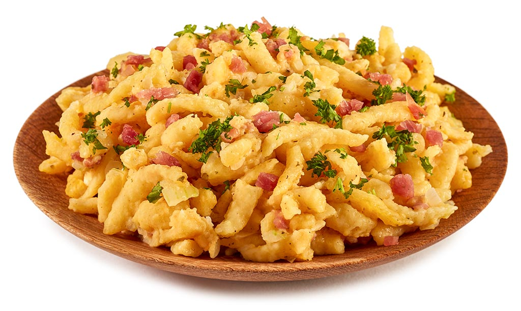 Fried spaetzle with ham