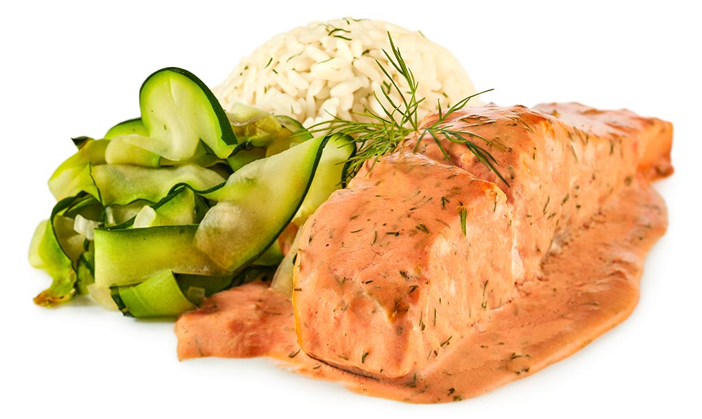 Baked salmon with courgettes