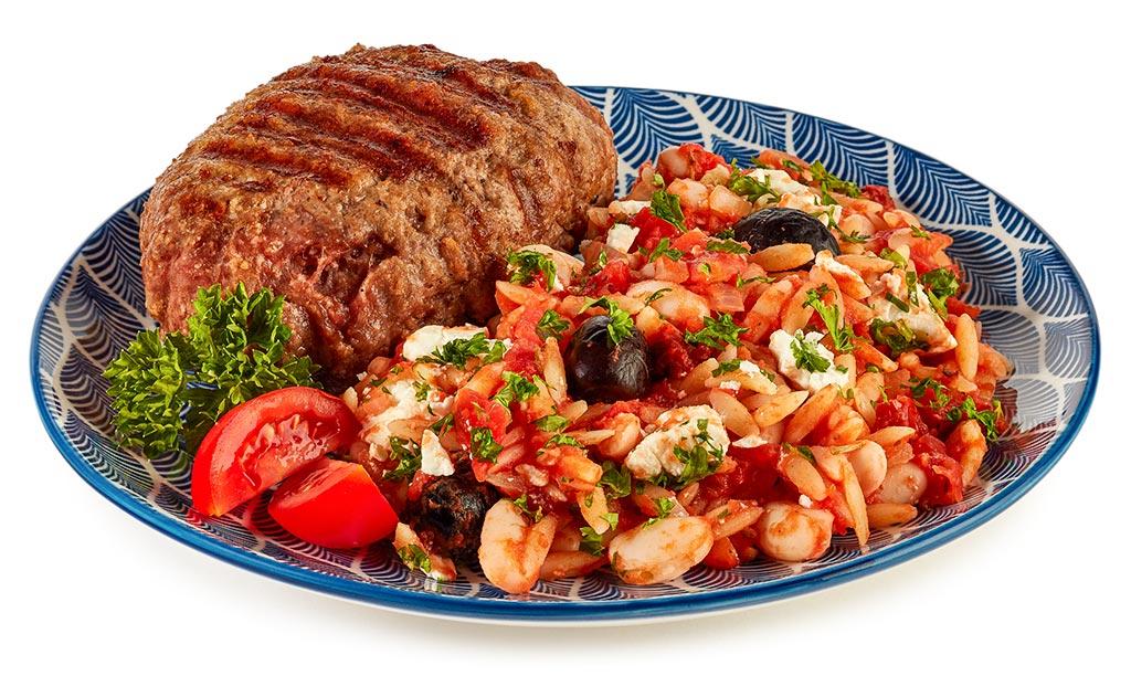 Kritharaki noodle salad with bifteki