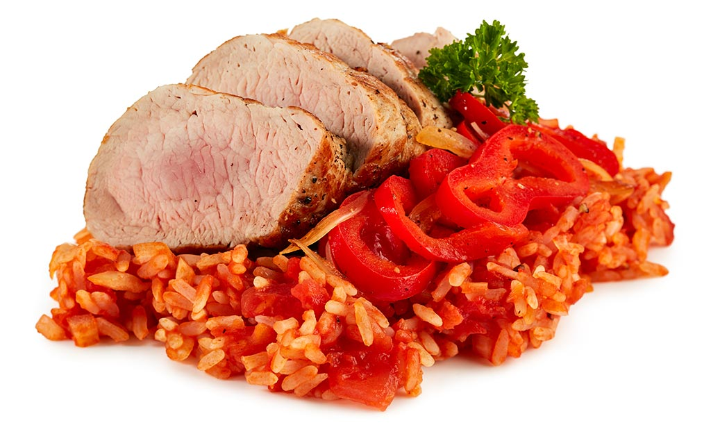Pork fillet roast with tomatoes rice