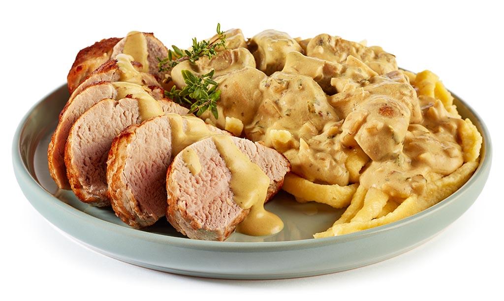 Spätzle & Pork Filet in Mustard Sauce