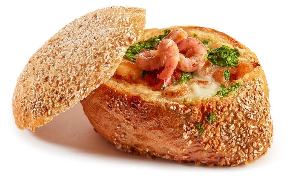 Baked prawns bread rolls