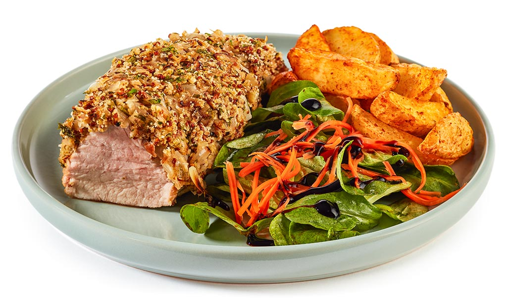Pork fillet with onion mustard crust