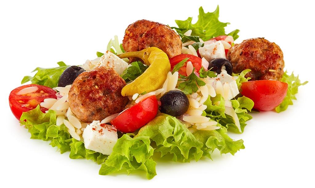 Mett Balls with Kritharaki Noodle Salad