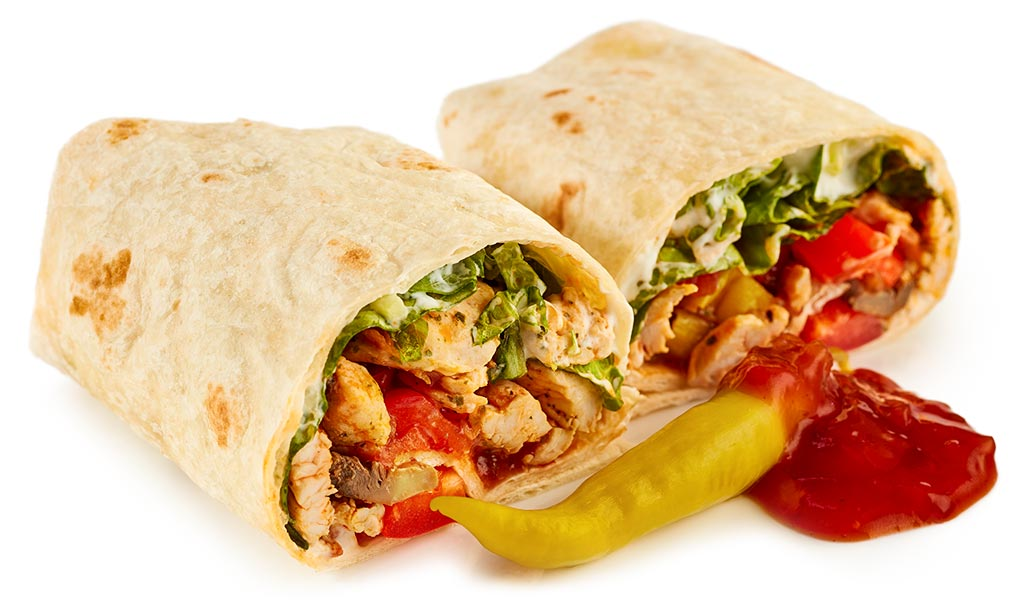 Burritos with turkey gyros