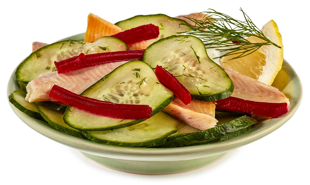 Cucumber fish salad with trout fillet