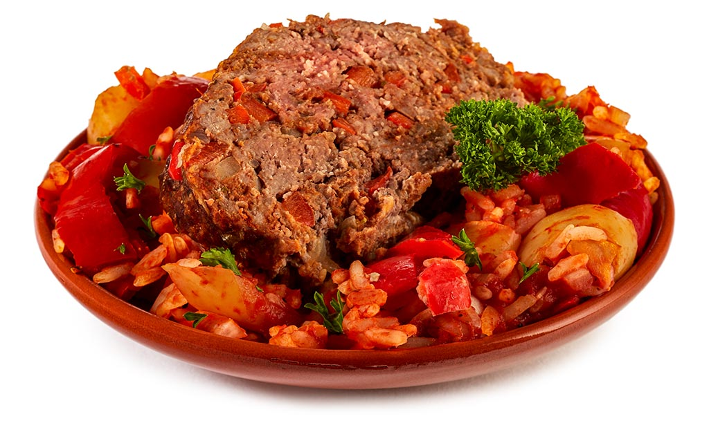 Beef meat loaf with Letscho rice