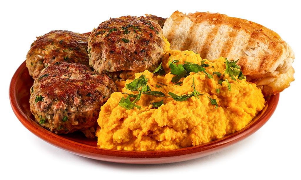 Pumpkin Hummus & Syrian meatballs