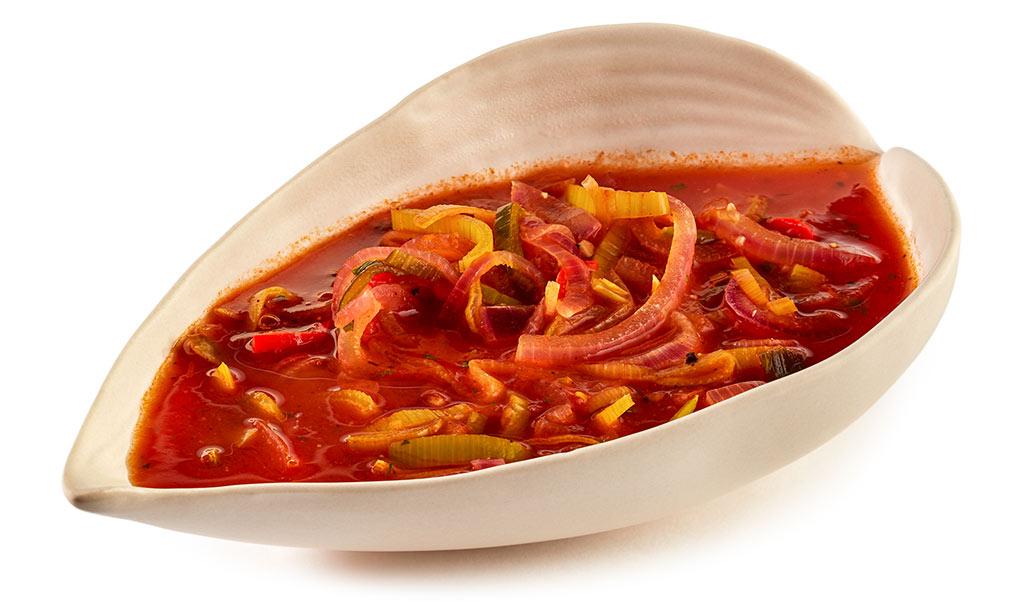Hot vegetarian onion soup
