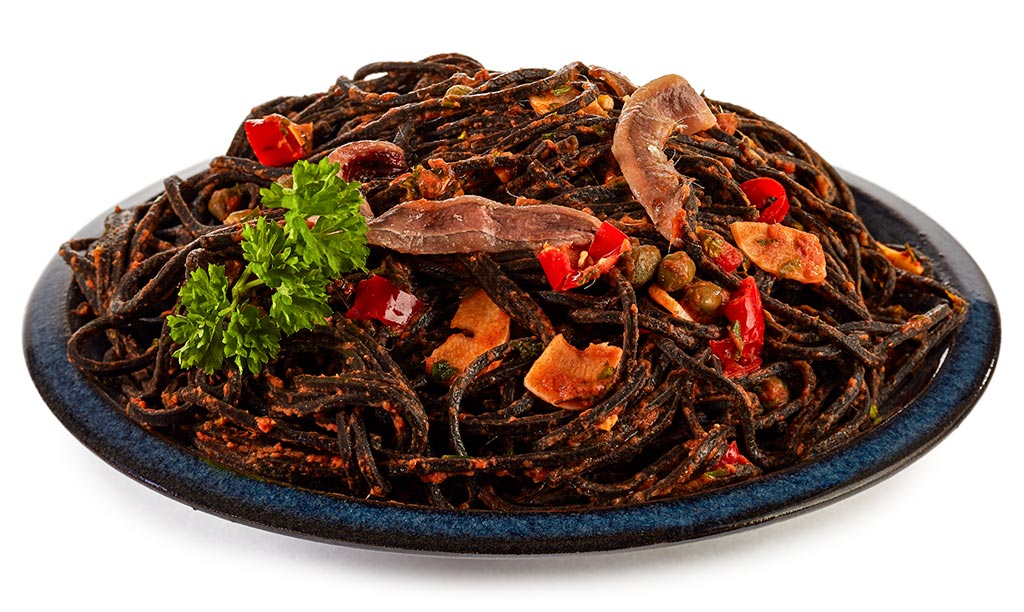 Black spaghetti with anchovies