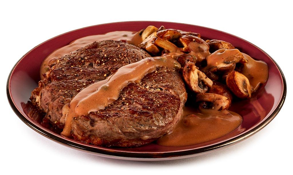 Entrecôte steak in cognac cream sauce