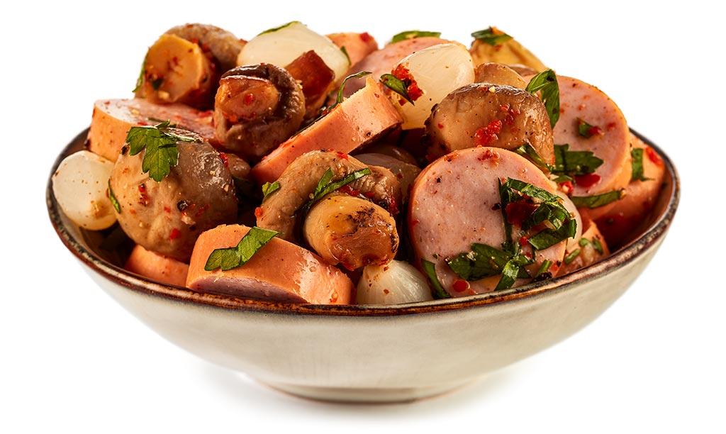 Bock sausage mushroom salad