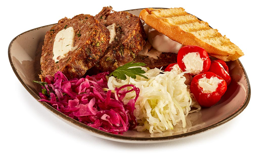 Feta meat loaf with cabbage salad