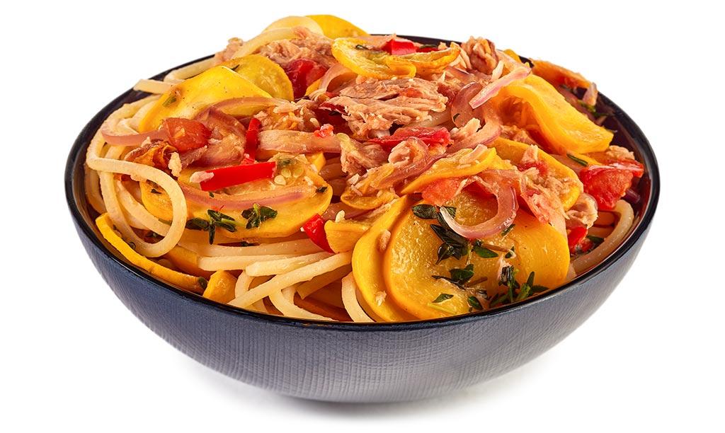 Yellow Zucchini Tuna Spaghetti