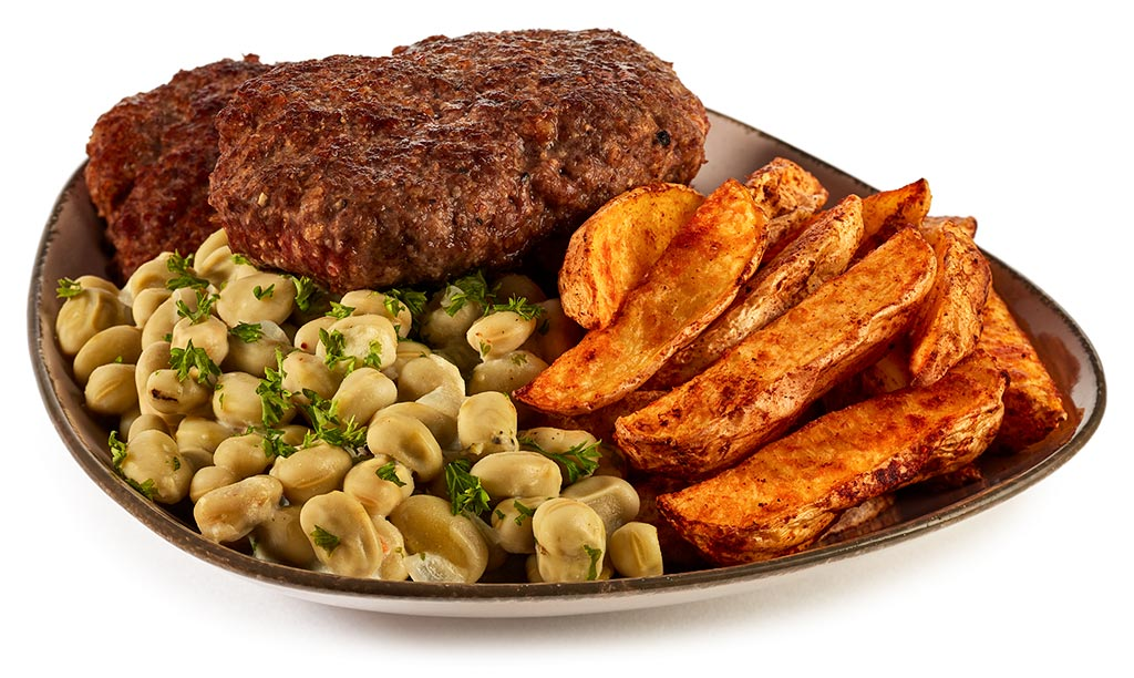 Minced steak and broad beans