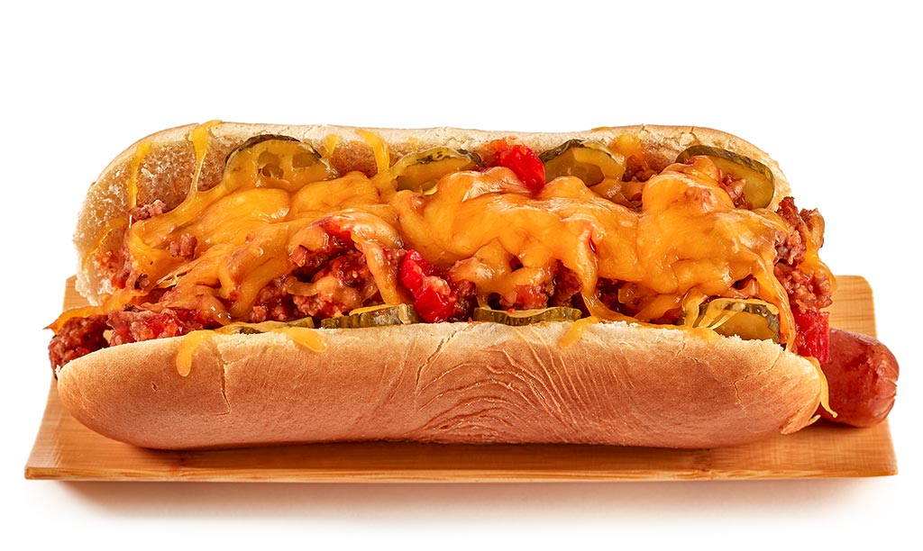 Texas chili minced meat hot dog