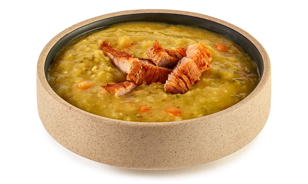 Pea soup with pork belly