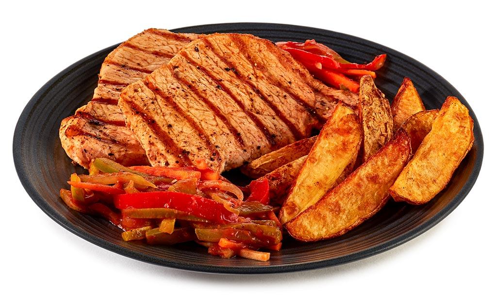 Pork salmon steak with Puszta salad