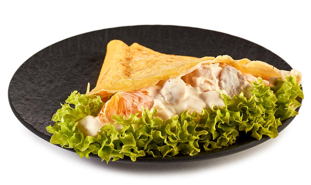 Crepes with poultry salad