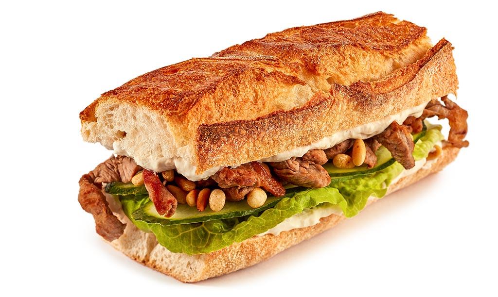 Caesar veal cutlet baguette